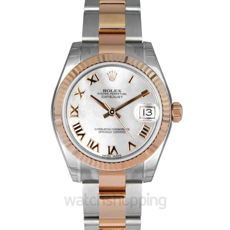 Rolex Datejust 31 Rolesor Everose Fluted / Oyster / White Roman