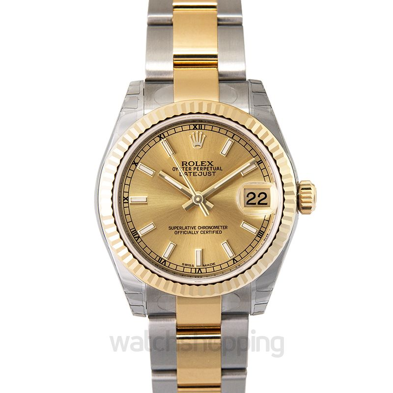 Rolex Datejust 31 Rolesor Yellow Fluted / Oyster / Champagne