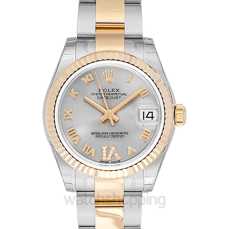 Rolex Datejust 31 Rolesor Yellow Fluted / Oyster / Silver Roman