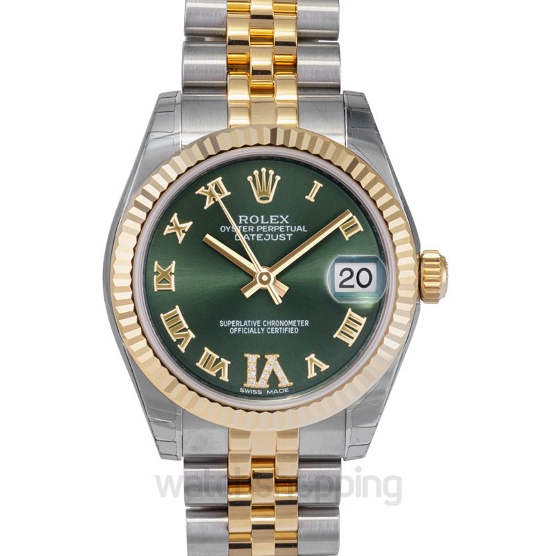Rolex Datejust 31 Rolesor Yellow Fluted / Jubilee / Olive Green Roman