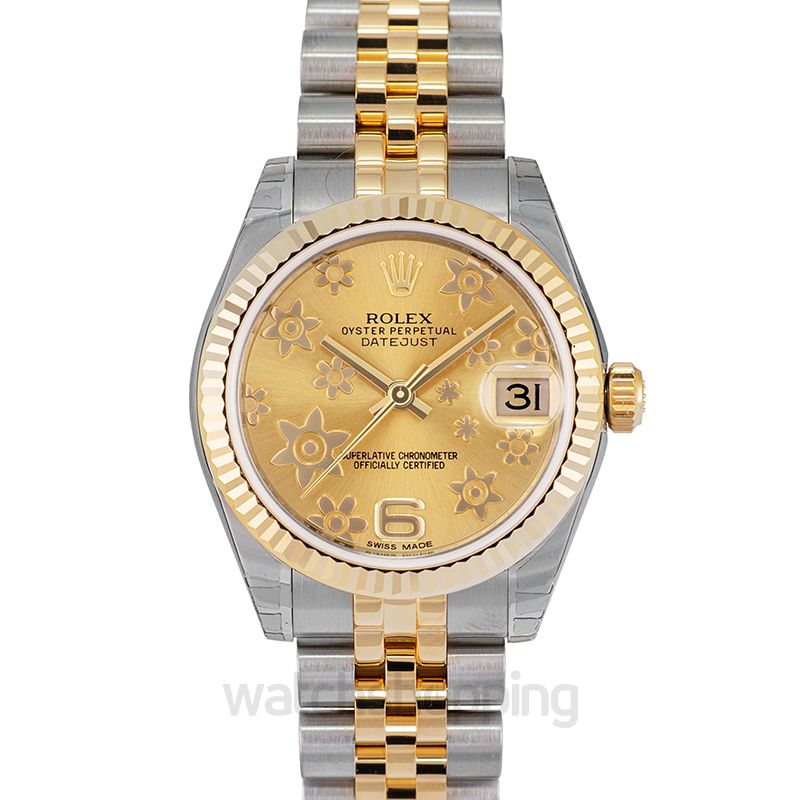 Rolex Datejust 31 Rolesor Yellow Fluted / Jubilee / Champagne Floral