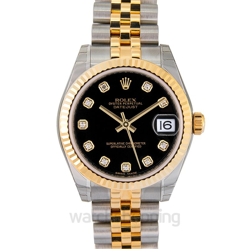 Rolex Datejust 31 Rolesor Yellow Fluted / Jubilee / Black Diamond