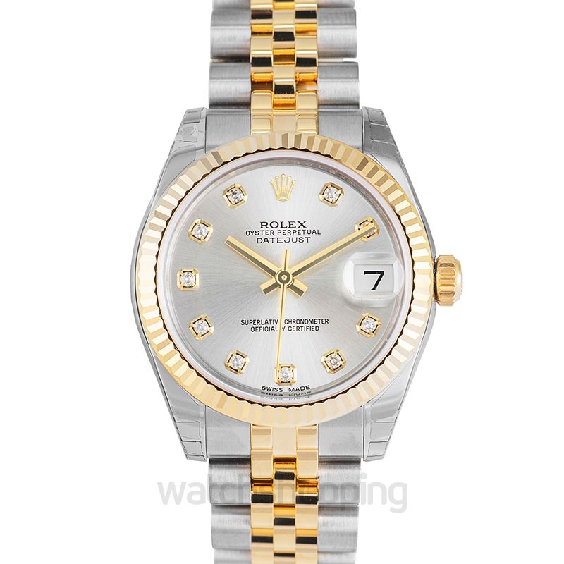 Rolex Datejust 31 Rolesor Yellow Fluted / Jubilee / Silver Diamond