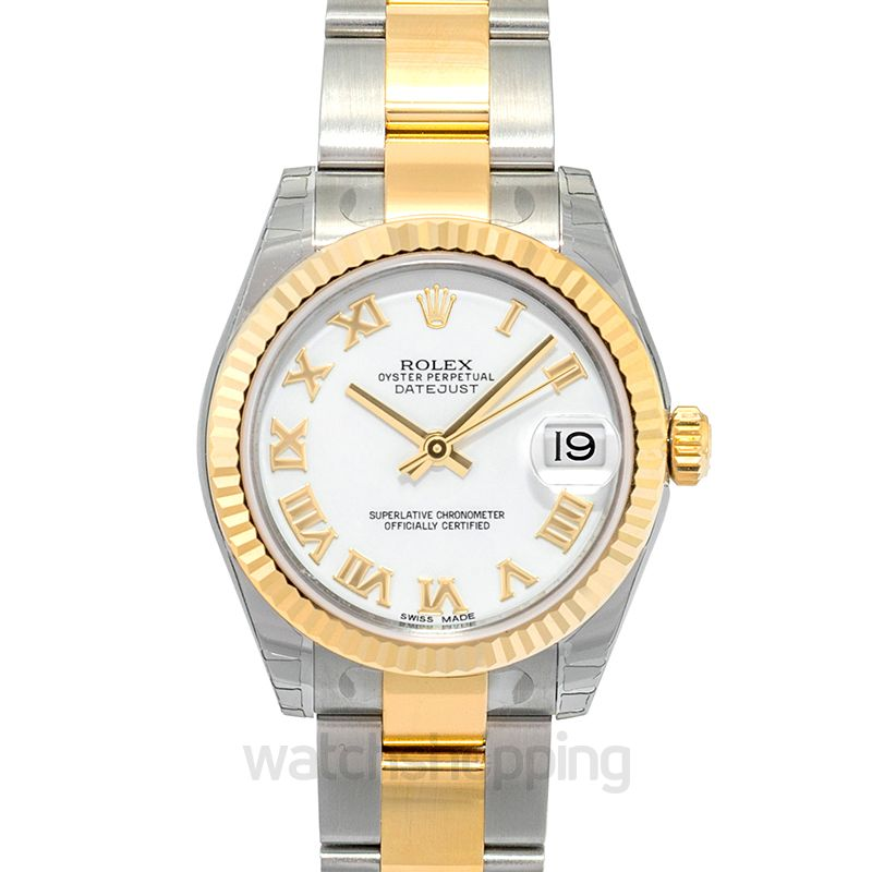 Rolex Datejust 31 Rolesor Yellow Fluted / Oyster / White Roman