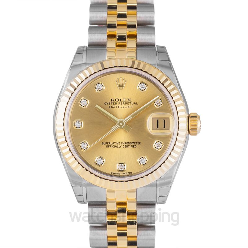 Rolex Datejust 31 18 ct Yellow Gold Automatic Champagne Dial Jubilee Bracelet Diamond Ladies Watch