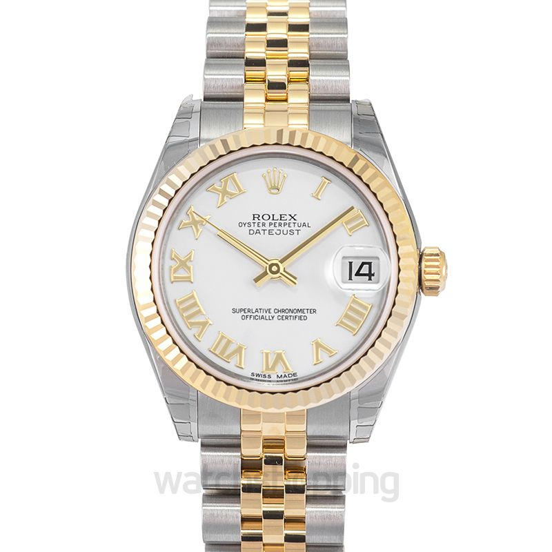 Rolex Datejust 31 Rolesor Yellow Fluted / Jubilee / White Roman