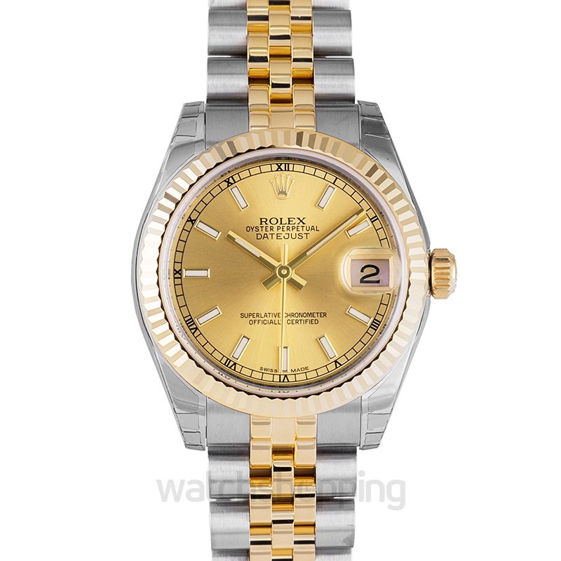 Rolex Datejust Lady 31 18K Yellow Gold Automatic Champagne Dial Jubilee Bracelet Ladies Watch