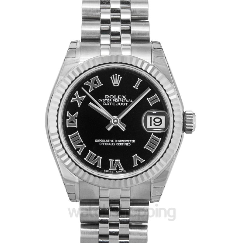 Rolex Datejust 31 Stainless Steel Fluted / Jubilee / Black Roman