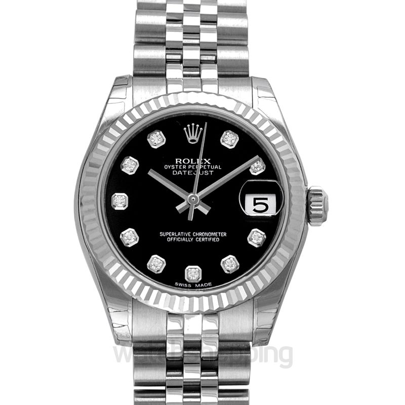 Rolex Datejust 31 Stainless Steel Fluted / Jubilee / Black Diamonds