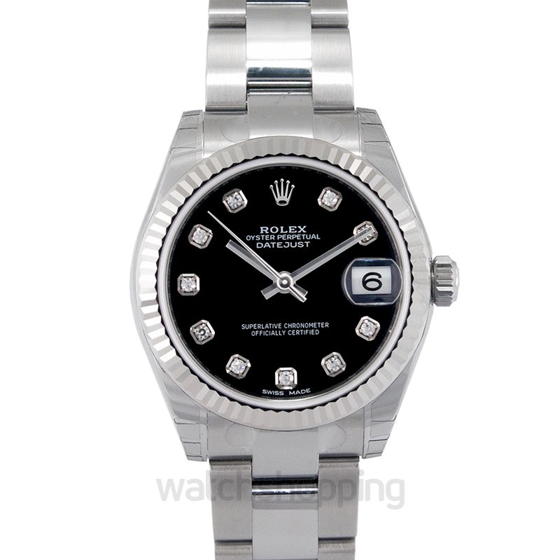 Rolex Datejust 31 Stainless Steel Fluted / Oyster / Black Diamonds