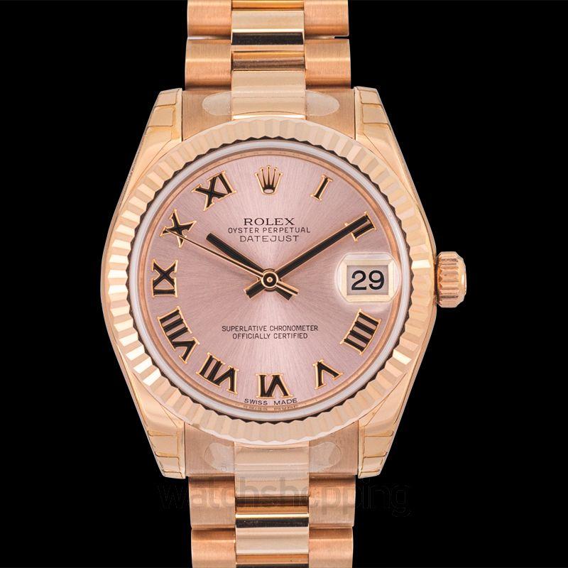 Rolex Datejust 31 Everose Fluted / President / Pink Roman