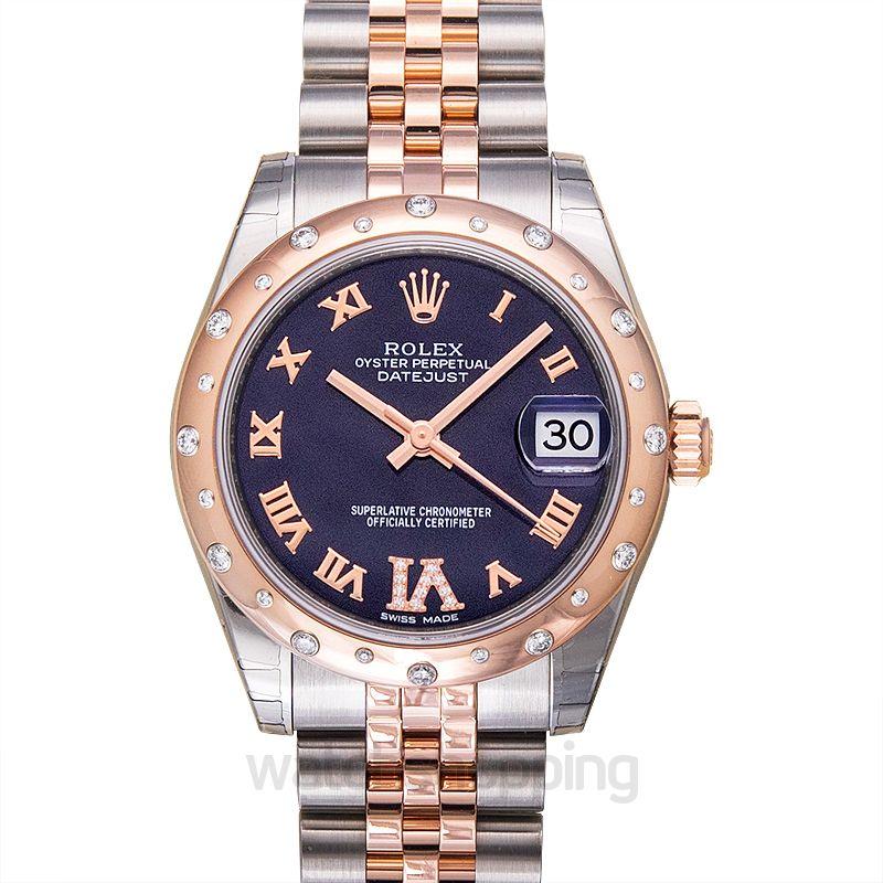 Rolex Datejust 31 Rolesor Everose Domed Diamond / Jubilee / Purple Roman