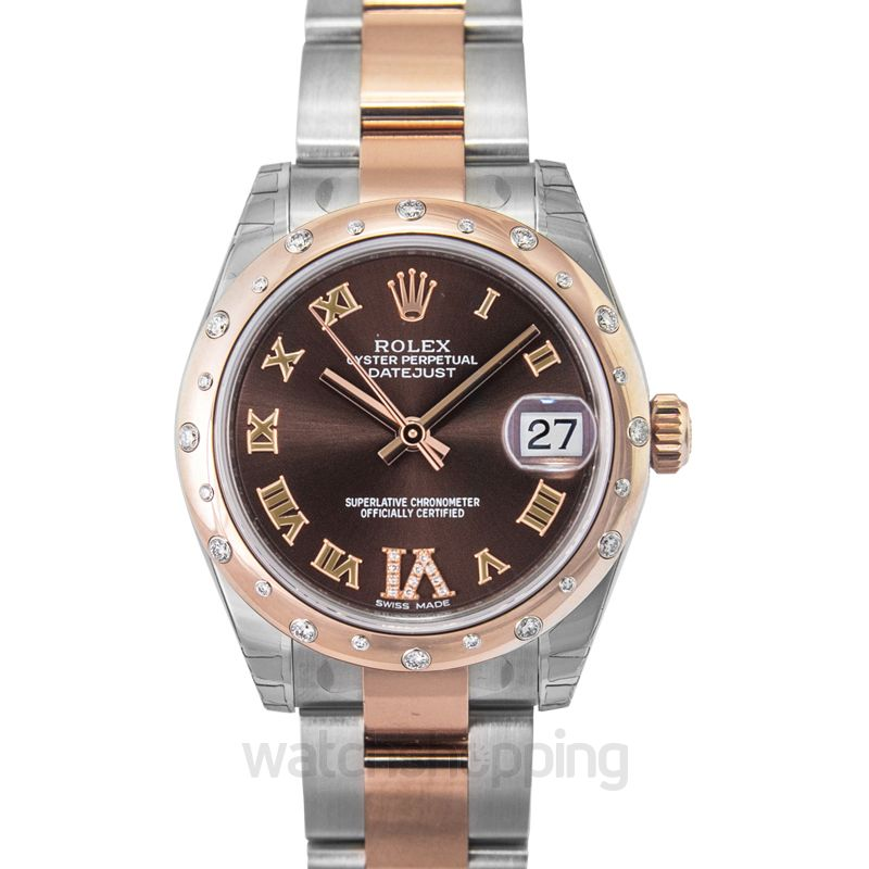 Rolex Rolex Datejust 31 Chocolate Dial Steel and 18K Everose Gold Diamond Ladies Watch 178341
