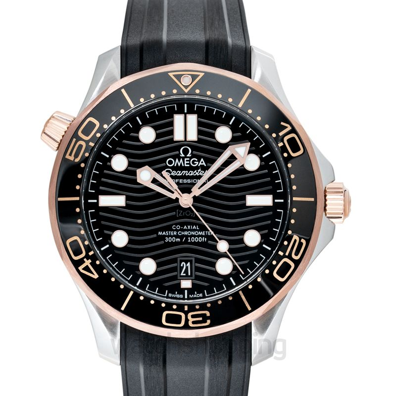 Omega Seamaster Diver 300 M Co‑Axial Master Chronometer 42mm Automatic Black Dial Gold Men's Watch