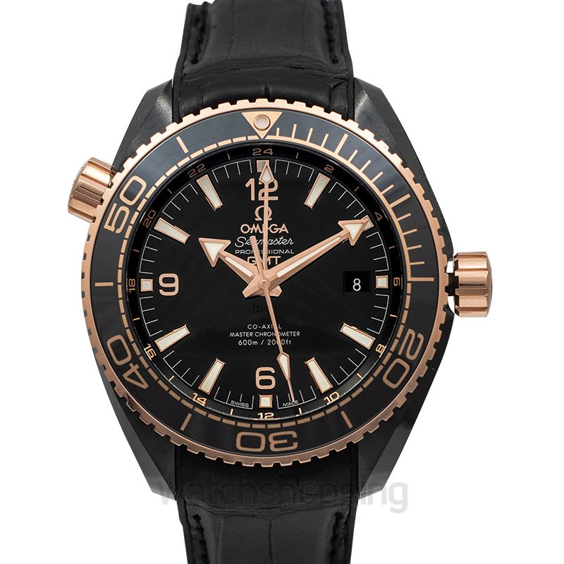 Omega Seamaster Planet Ocean 600M Co‑axial Master Chronometer GMT 45.5 mm Black Dial Black Ceramic Men's Watch