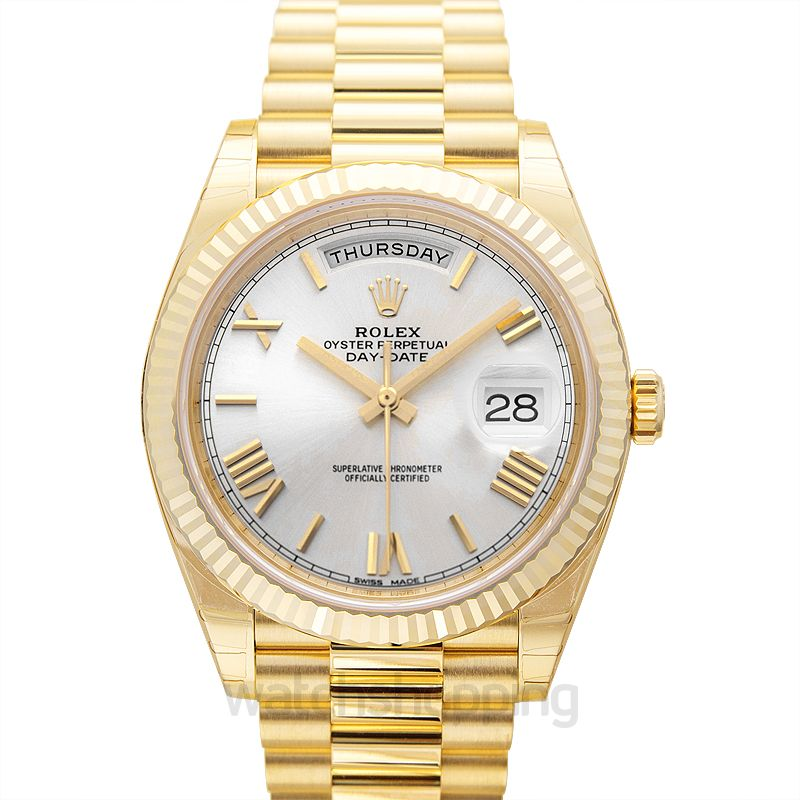 Rolex Rolex Day-Date 40 Silver Dial 18K Yellow Gold President Men's Watch 228238SSRP