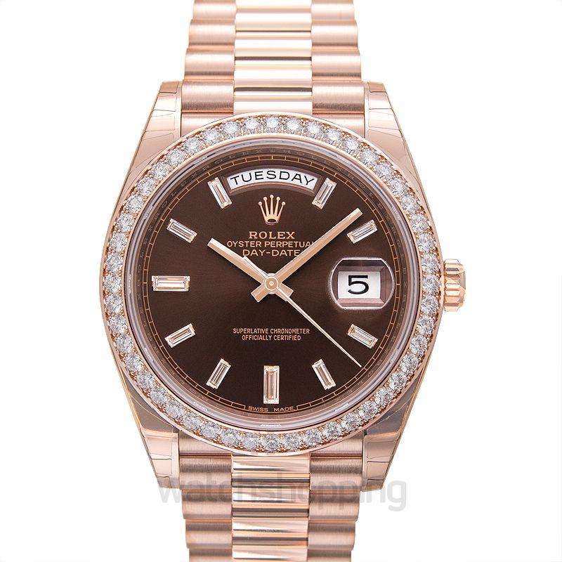 Rolex Day-Date 40 Everose Diamond / Chocolate Diamond