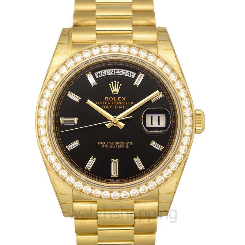 Rolex Rolex Day-Date 40 Yellow Gold Black Diamond Dial & Diamond Bezel President Bracelet