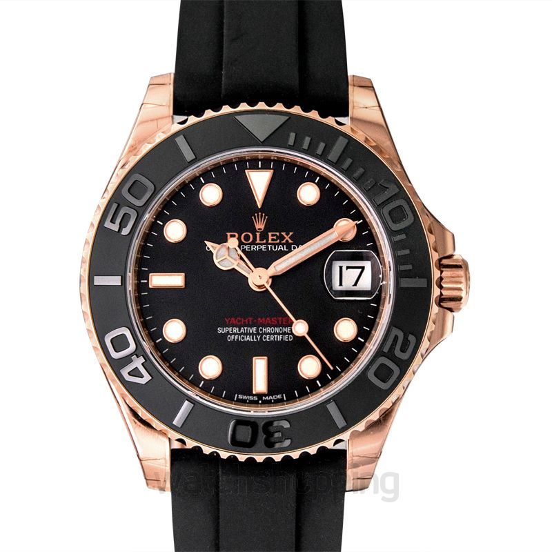 Rolex Rolex Yacht-Master Automatic Black Dial 18kt Everose Gold Black Rubber Strap Unisex Watch 268655BKSRS