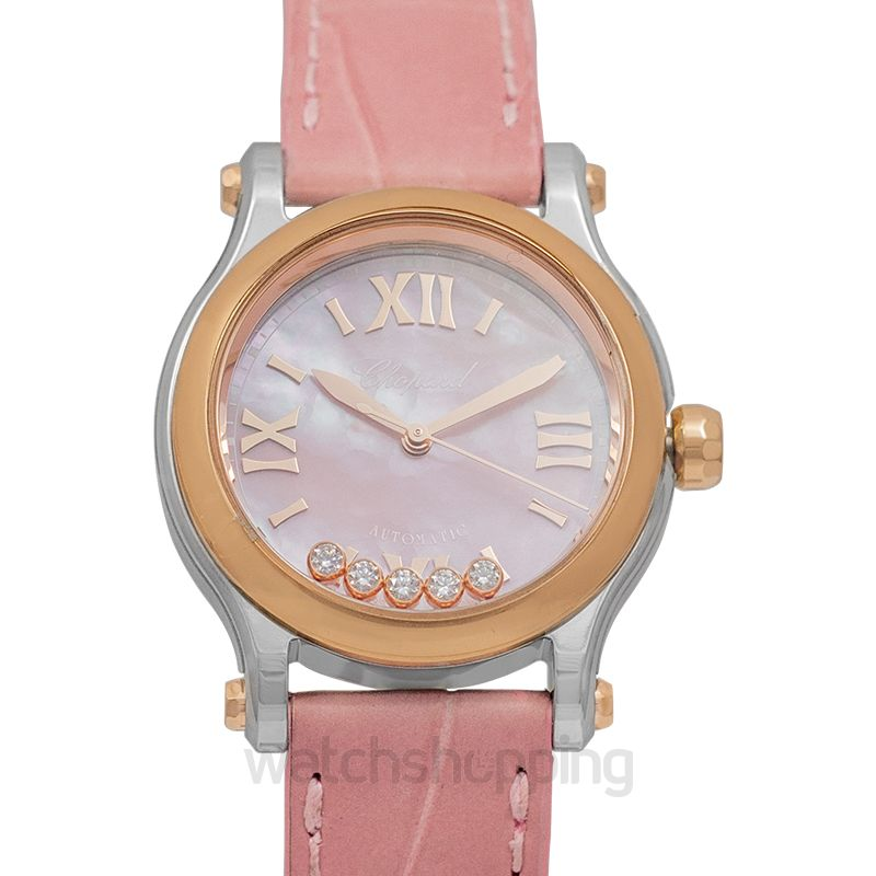 Chopard Happy Sport 30 mm Automatic Pink Mother Of Pearl Dial Diamonds Ladies Watch