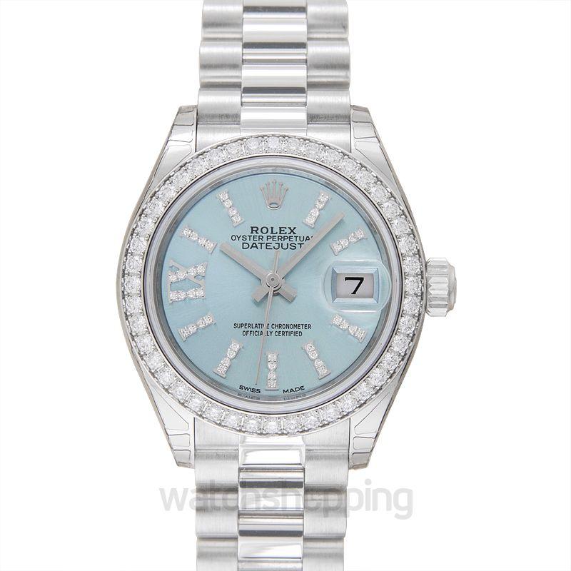 Rolex Lady-Datejust 28 Platinum Diamond / President / Ice Blue Diamonds
