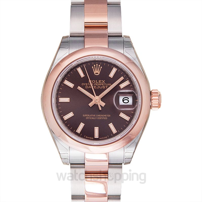 Rolex Lady-Datejust 28 Rolesor Rose Domed / Oyster / Chocolate
