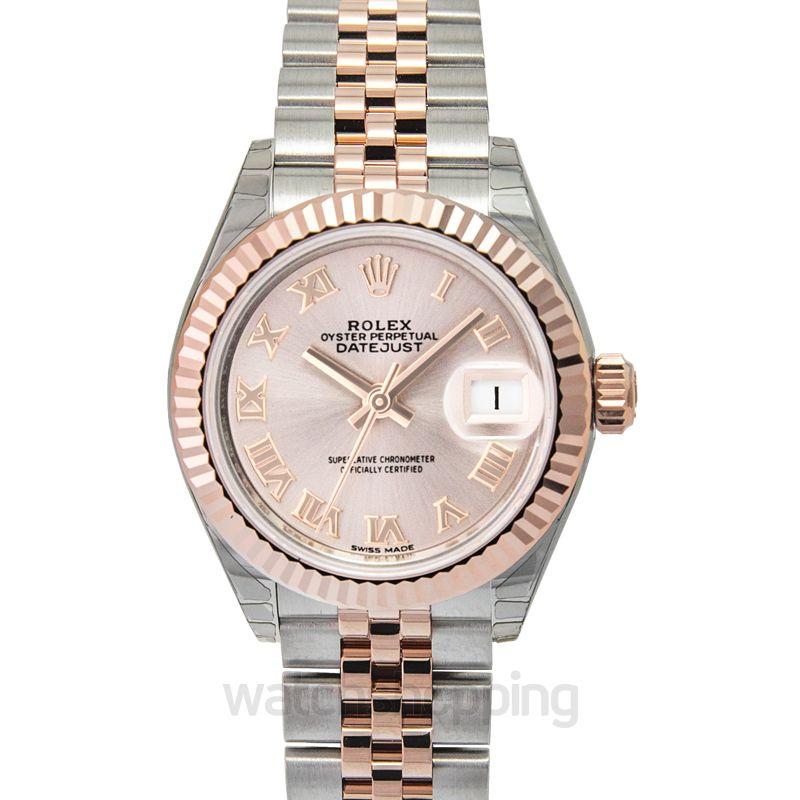 Rolex Lady-Datejust 28 Rolesor Rose Fluted / Jubilee / Sundust Roman