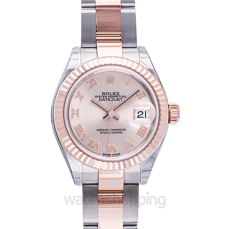 Rolex Lady-Datejust 28 Rolesor Rose Fluted / Oyster / Sundust Roman