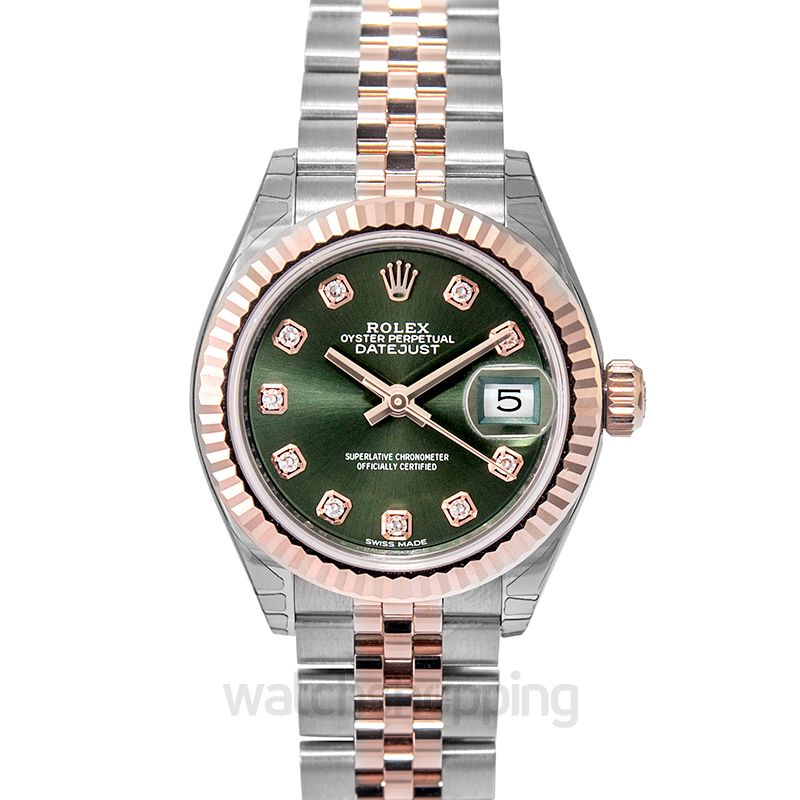 Rolex Lady-Datejust 28 Rolesor Rose Fluted / Jubilee / Olive Diamonds