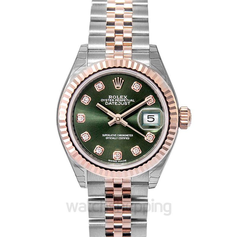 Rolex Lady-Datejust 28 Rolesor Rose Fluted / Jubilee / Olive Diamonds