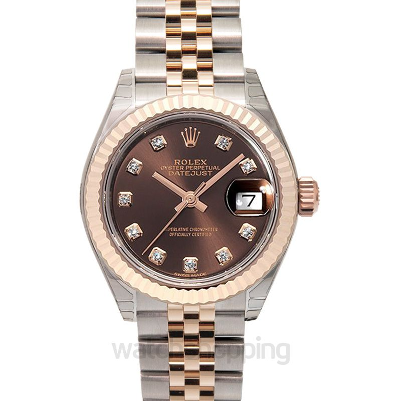 Rolex Lady-Datejust 28 Rolesor Rose Fluted / Jubilee / Chocolate Diamond