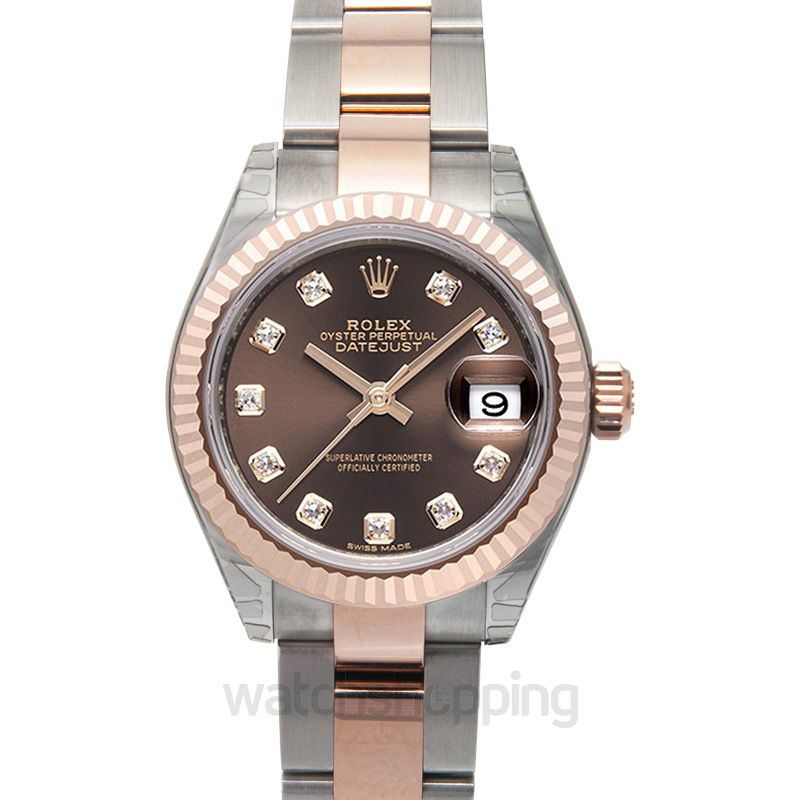 Rolex Lady-Datejust 28 Rolesor Rose Fluted / Oyster / Chocolate Diamond
