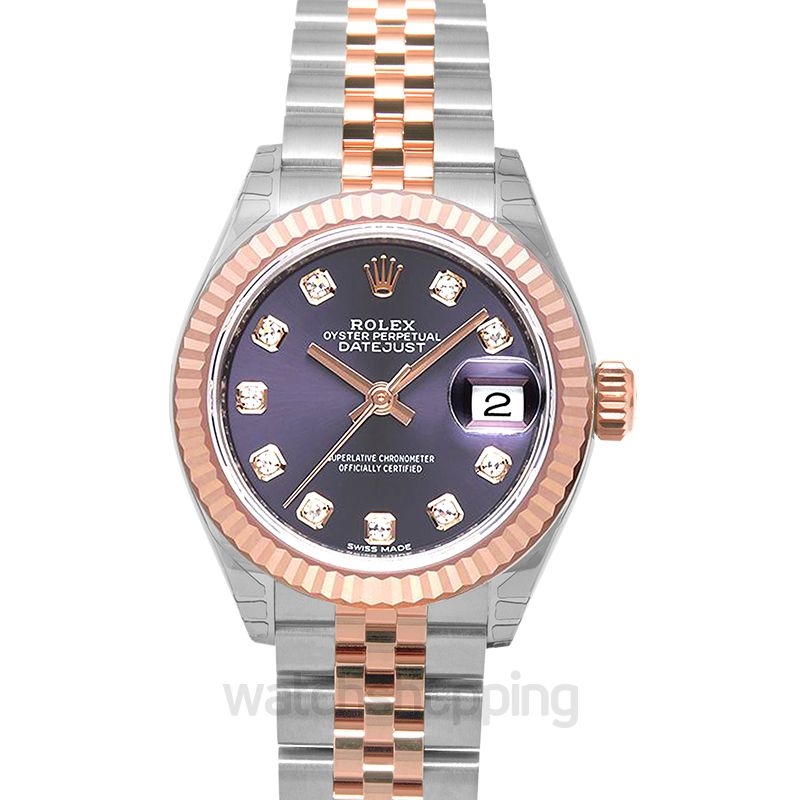 Rolex Lady-Datejust 28 Rolesor Rose Fluted / Jubilee / Aubergine Diamonds