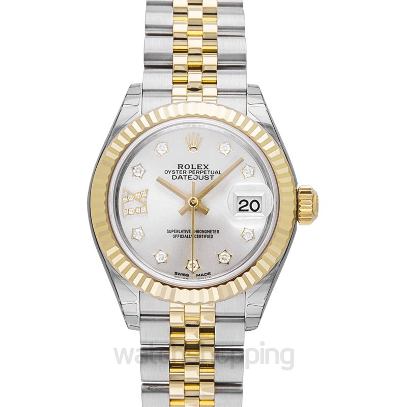 Rolex Lady-Datejust 28 Rolesor Yellow Fluted / Jubilee / Silver Diamond