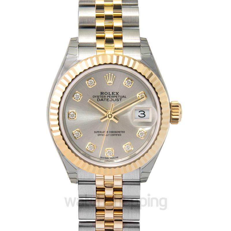 Rolex Lady-Datejust 28 Rolesor Yellow Fluted / Jubilee / Silver Diamond