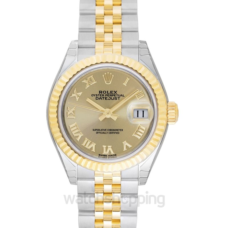 Rolex Lady-Datejust 28 Rolesor Yellow Fluted / Jubilee / Champagne Roman