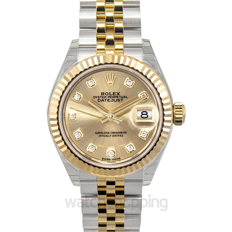 Rolex Lady-Datejust 28 Rolesor Yellow Fluted / Jubilee / Champagne Diamond