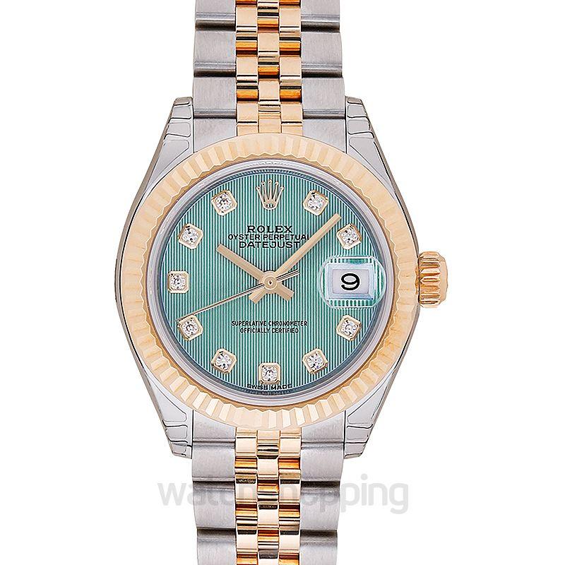 Rolex Lady-Datejust 28 Rolesor Yellow Fluted / Jubilee / Mint Green Tuxedo