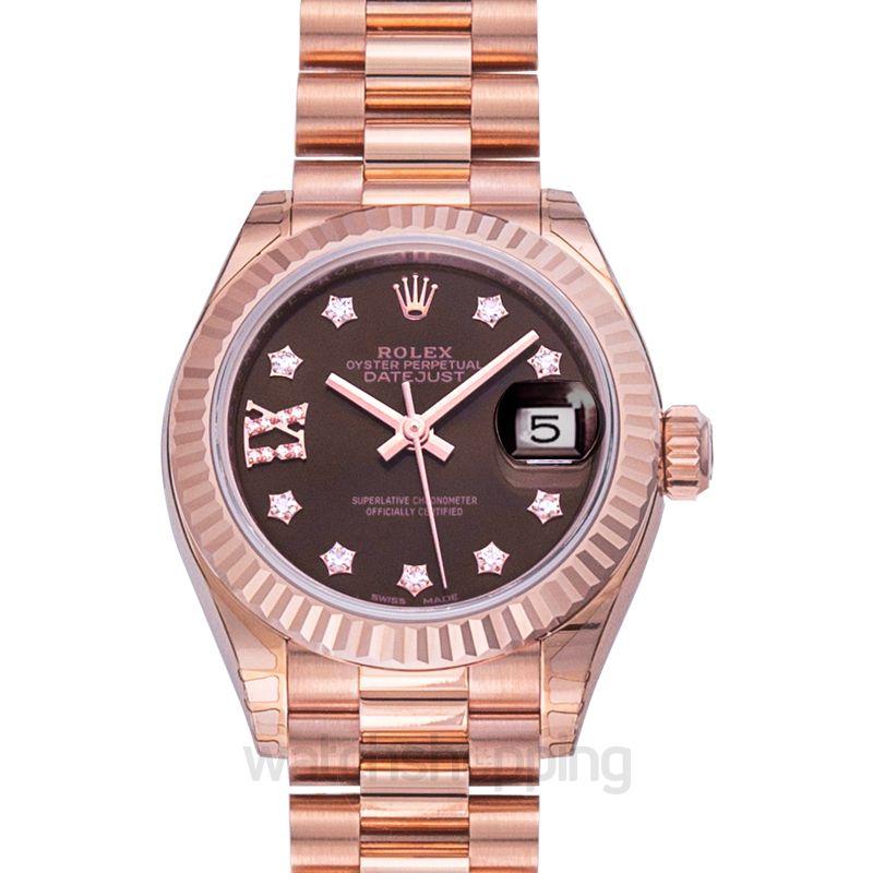 Rolex Lady-Datejust 28 Everose Fluted  / President / Chocolate Diamond