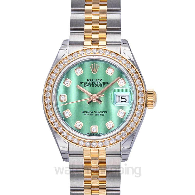 Rolex Lady-Datejust 28 Rolesor Yellow Diamond / Jubilee / Mint Green Diamond