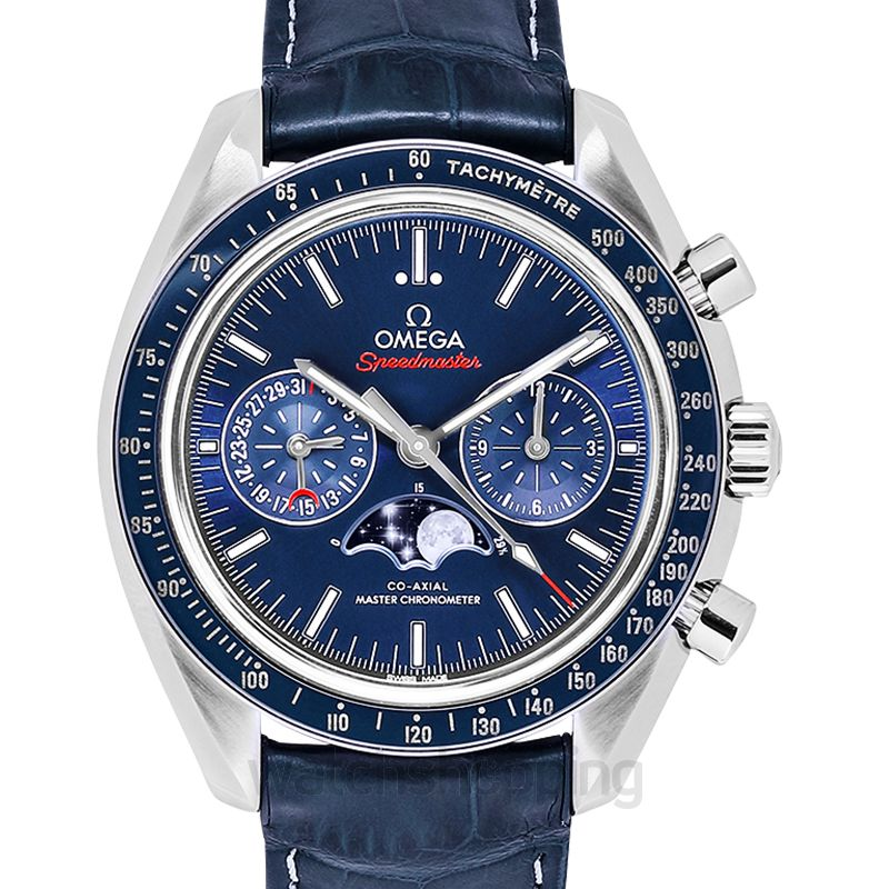 Omega Speedmaster Moonwatch Co‑Axial Master Chronometer Moonphase Chronograph 44.25 mm Automatic Blue Dial Steel Men's Watch
