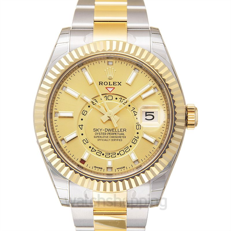 Rolex Sky-Dweller Stainless Steel / Yellow Gold / Champagne