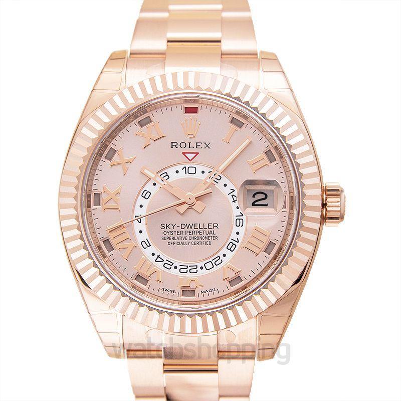 Rolex Rolex Sky Dweller Sundust Dial 18kt Everose Gold Men's Watch 326935