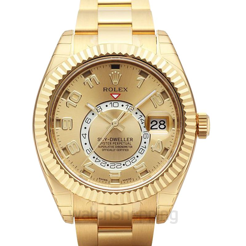 Rolex Rolex Sky Dweller Champagne Dial 18K Yellow Gold Oyster Bracelet Automatic Men's Watch 326938CAO