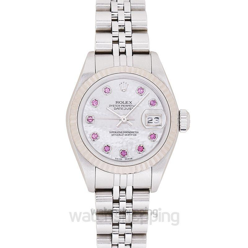 Rolex Datejust 10P ruby white shell clockface/white gold 26mm