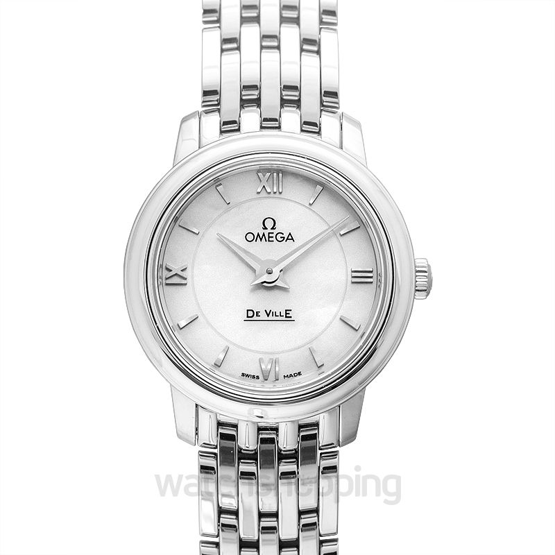 Omega De Ville Prestige Quartz 24.4 mm Quartz White Mother Of Pearl Dial Steel Ladies Watch