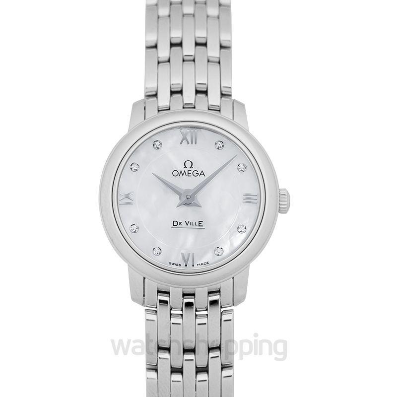 Omega De Ville Prestige Quartz 24.4mm Quartz White Mother Of Pearl Dial Diamonds Ladies Watch