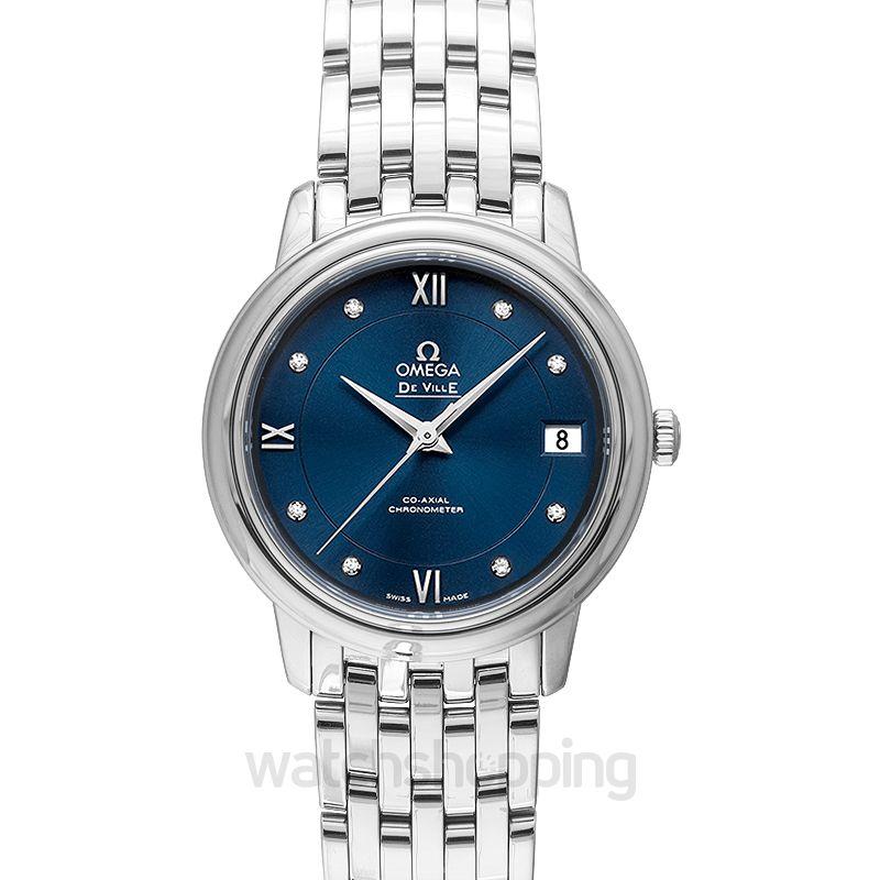Omega De Ville Prestige Quartz 27.4mm Quartz Blue Dial Diamonds Ladies Watch