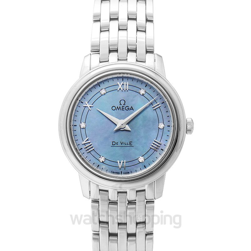 Omega De Ville Prestige Quartz 27.4 mm Blue Mother Of Pearl Dial Diamonds Ladies Watch