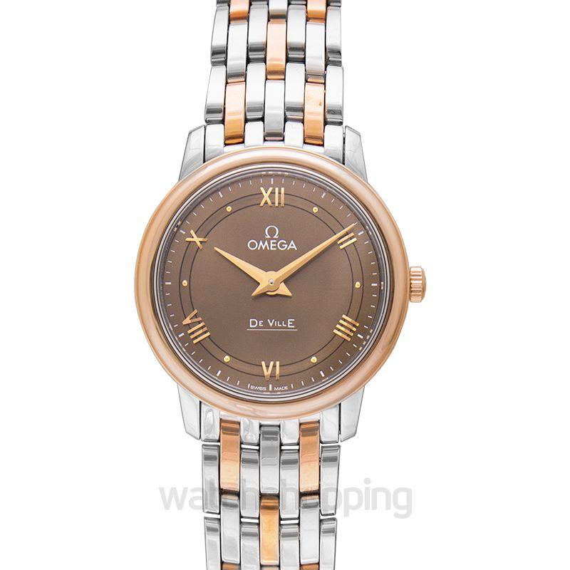 Omega De Ville Prestige Quartz 27.4mm Quartz Bronze Dial Red Gold Ladies Watch